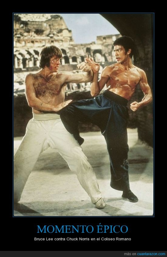 Bruce Lee,Chuck Norris,Coliseo Romano