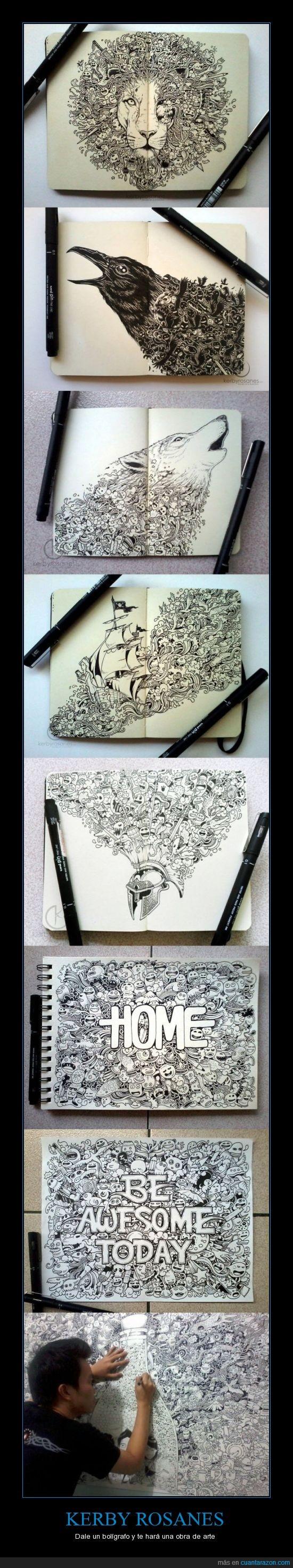 boligrafo,dibujos,increible,kerby