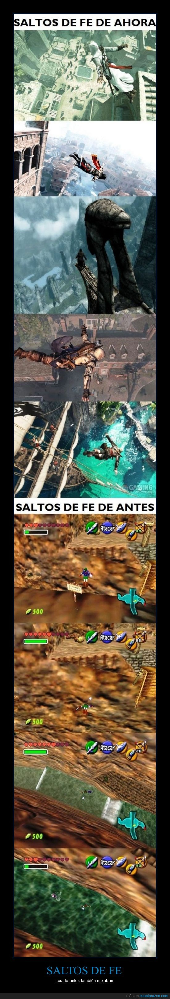 assasins creed,link,navi,ocarina of time,octorok,salto de fé
