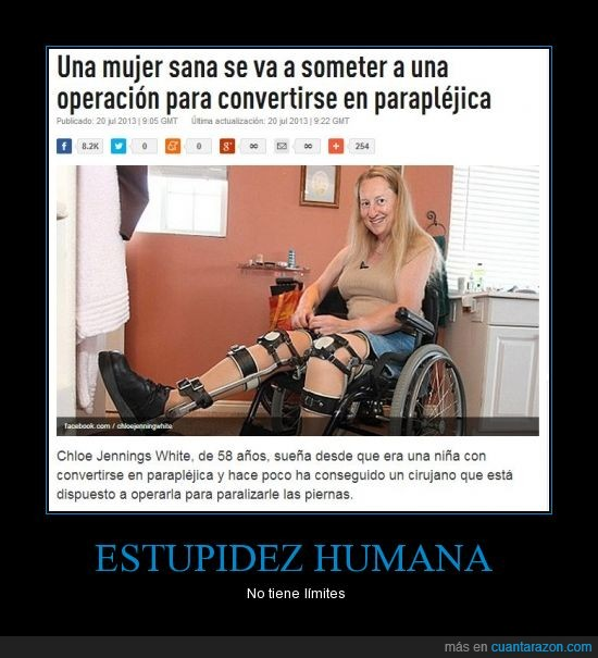 estupidez,humana,limites,mujer,operacion,paraplejica,sana