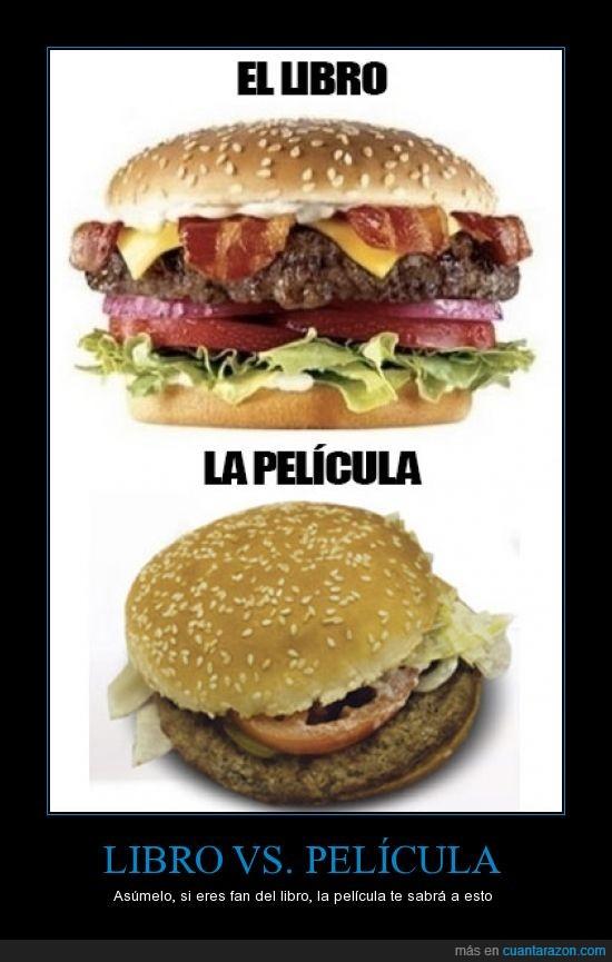 comparativa,efectos,hamburguesa,imaginacion,libro mucho mejor,pelicula
