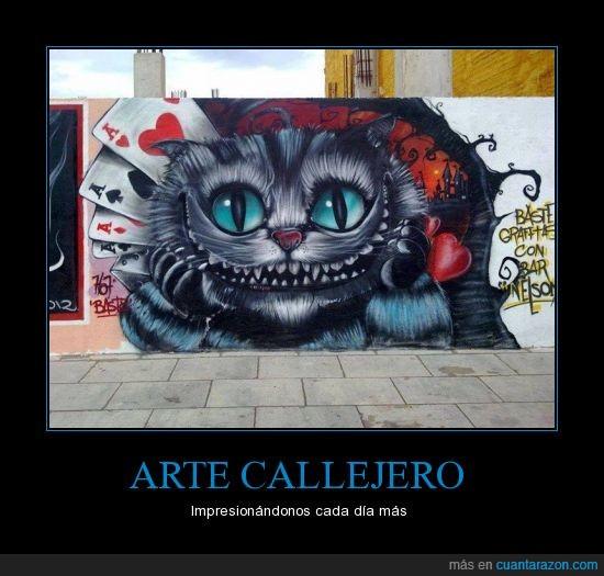 alicia,arte,calle,chesire,eeuu,gato,genial,urbano,usa