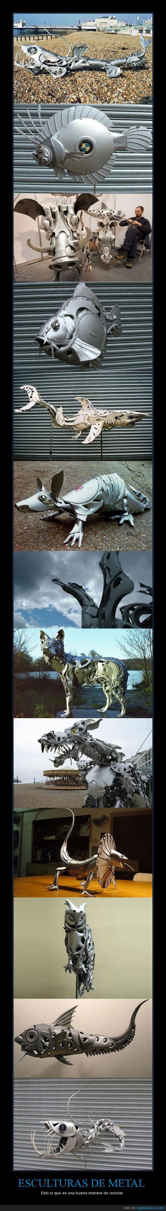 esculturas,metal,reciclar,salvar el mundo,soy batman,tapacubos