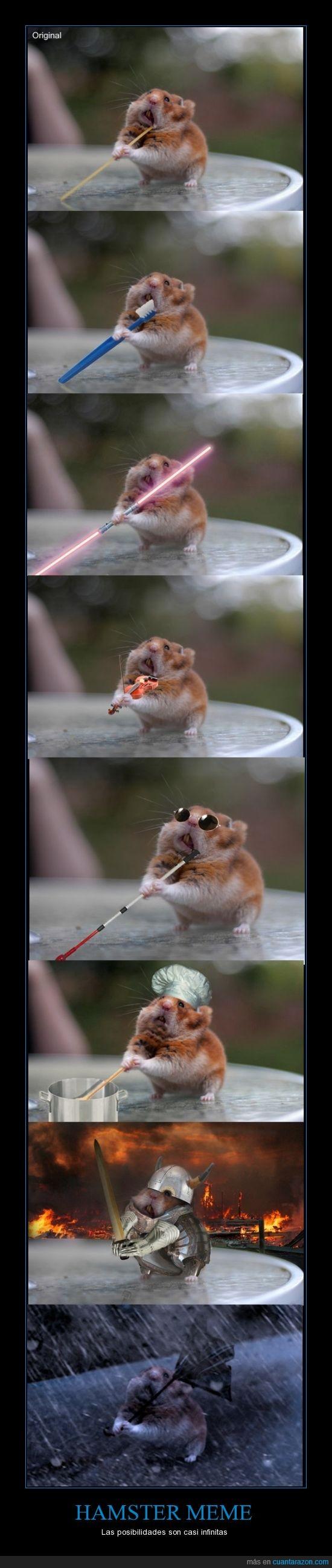 chop,dientes,espada,foto,hamster,laser,meme,montaje,raton