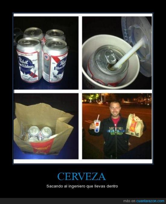 baso,bebida,cerveza,cocacola,disimular,esconder,ingenio,Mcdonalds