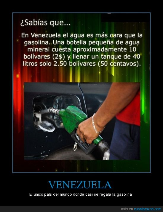 agua,el precio de gasolina mas bajo del mundo,gasolina,mi pais,regalar,Venezuela