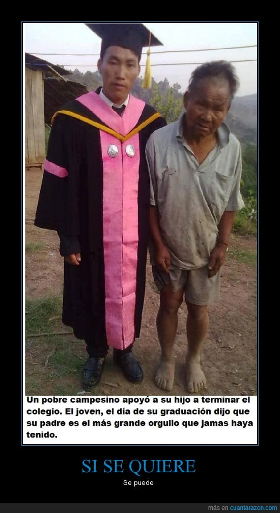 asia,campesino,graduacion,orgullo,pobre,si se quiere se puede