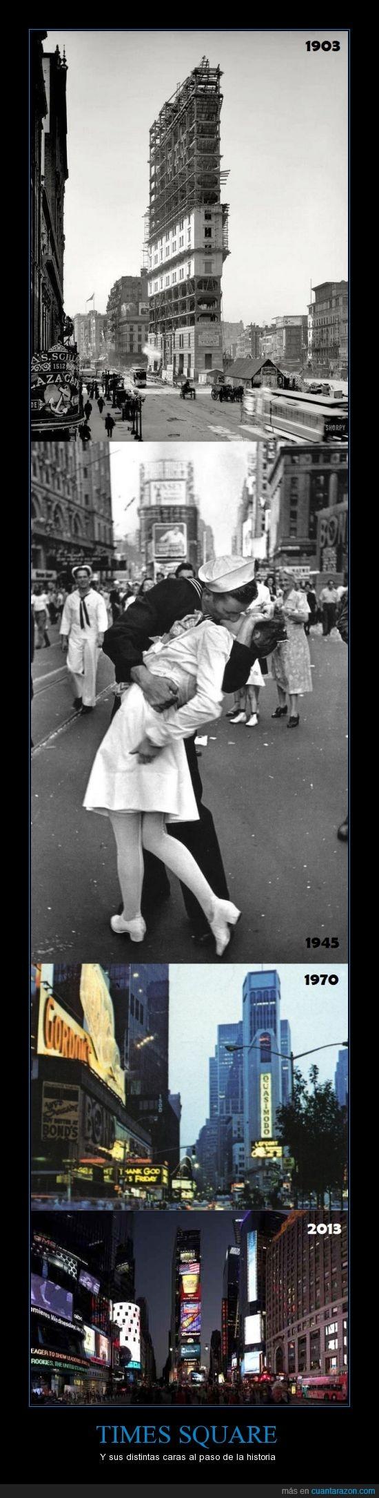 beso,caras,historia,Times Square