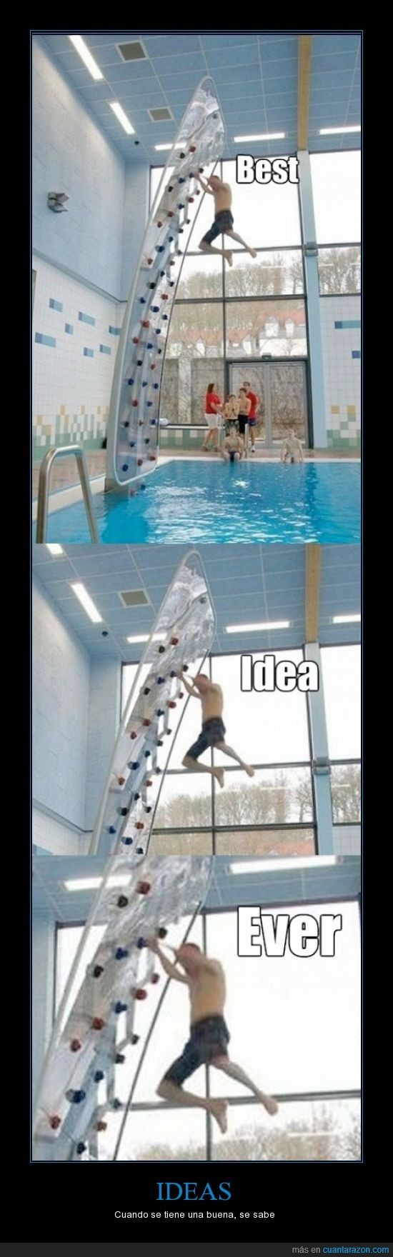 epicas,ideas,nadador,pared de escalada,piscina,saltar