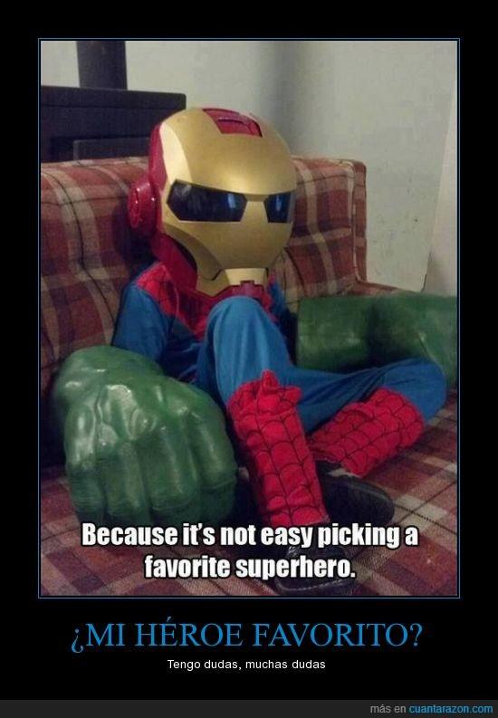 escoger,favorito,hulk,ironman,niño,spiderman,superheroes
