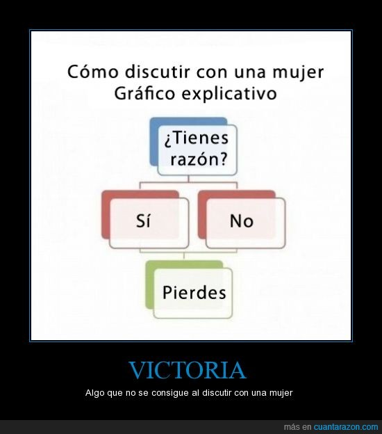 diagrama de flujo,discusion,discutir,imposible,mujer,no chance to win,perder,razon