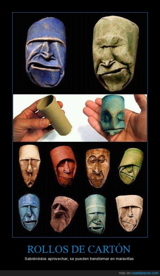 alucinante,arte,cara,cartón,maravillas,papel,Rollos de cartón
