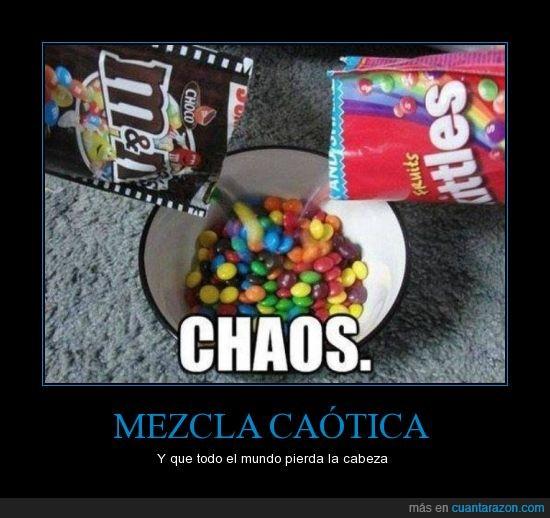 caos,chocolate,dulce,m&m's,mezcla,salado,skittles