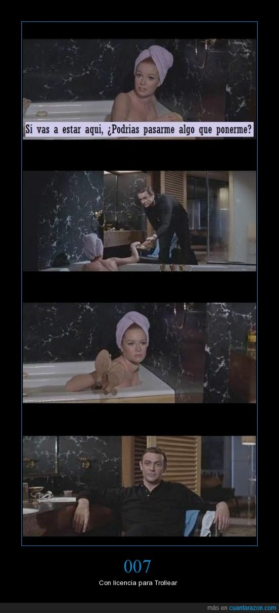 007,algo,bañera,chica,ducha,james bond,poner,ropa,vestir,zapatos