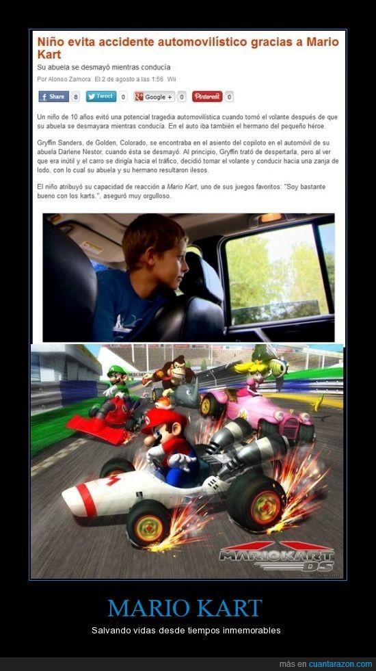 accidente,coche,mario kart,niño,salva,util,videojuego