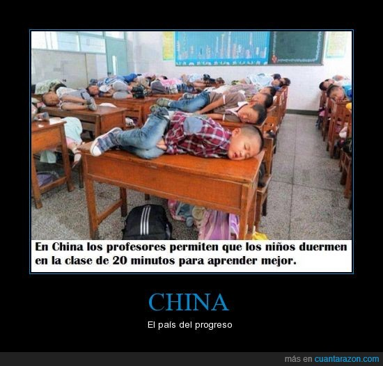 china,clase,dormir,educacion,progreso,siesta
