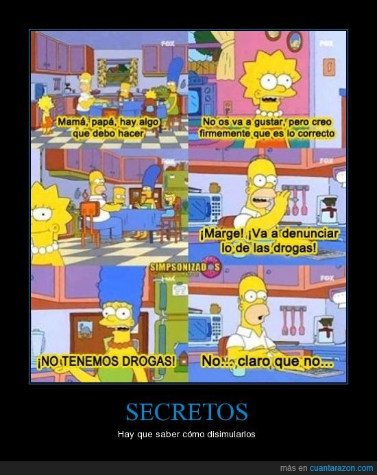 denunciar,disimular,drogas,Homer,Homero,Lisa,Los simpson,Marge,secretos