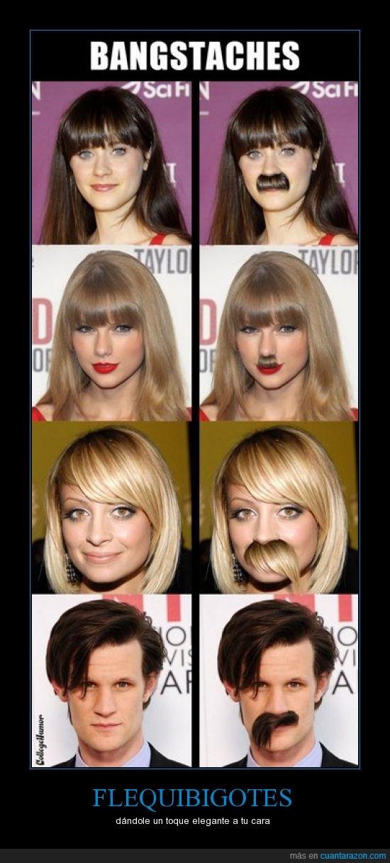 bigotes,famosos,flequillos,montaje,photoshop
