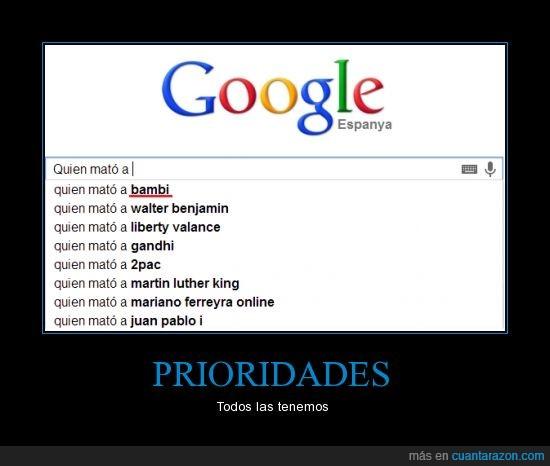 bambi,google,prioridades,quién mató a