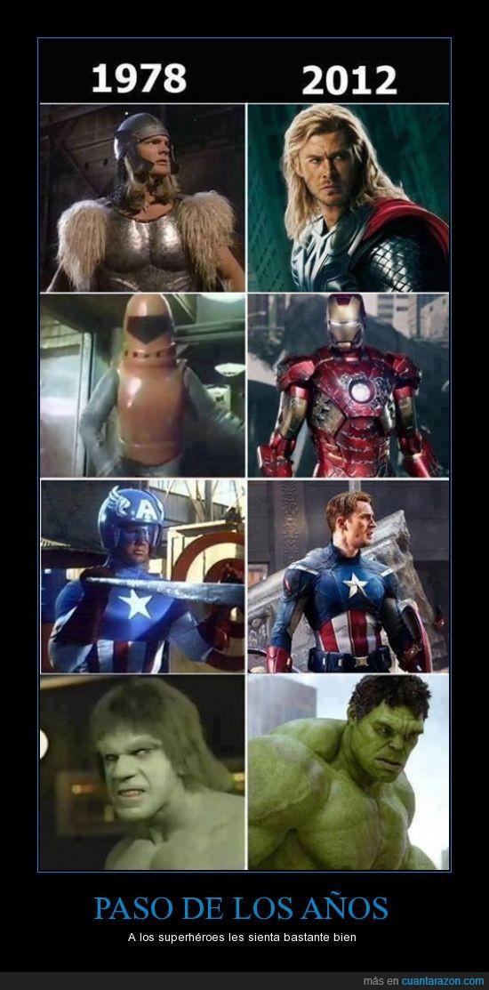 antes,capitan america,despues,hulk,ironman,superheroes,thor