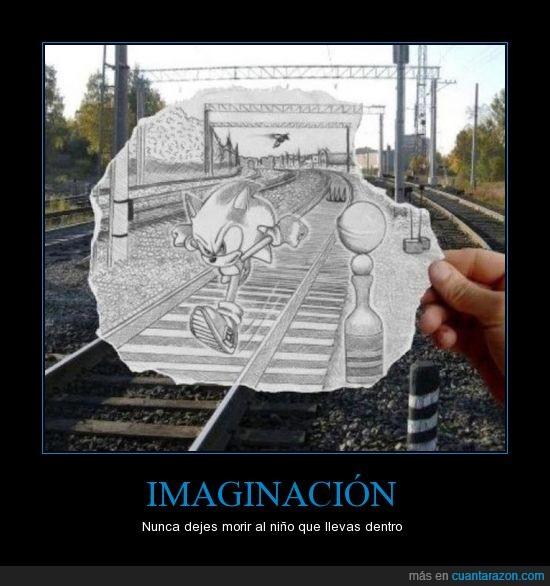 arte,dibujo,sonic,vías del tren