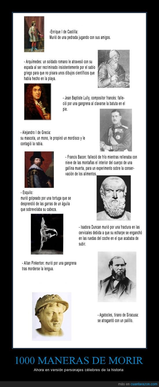 1000 maneras de morir,curiosidades,historia,vaya tela