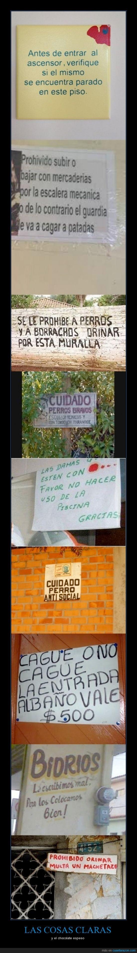 a machetazo limpio,amenaza,carteles,cosas bien claras,ortografia,paraguay,tienen
