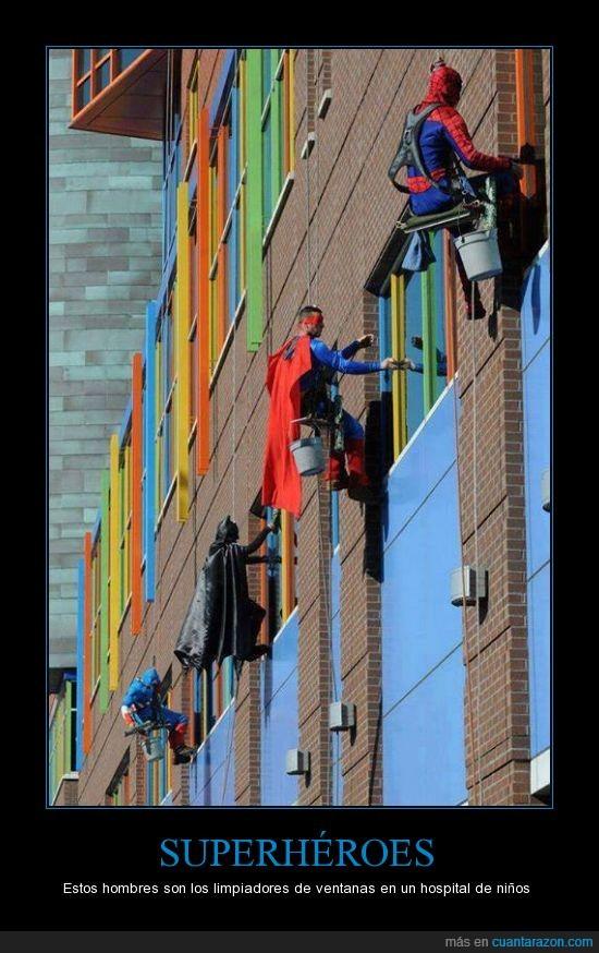 cristal,hospital,limpiadores,superheroes,ventana