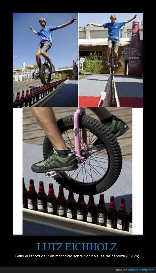 cerveza,cuellos de botella,Lutz Eichholz,monociclo,record