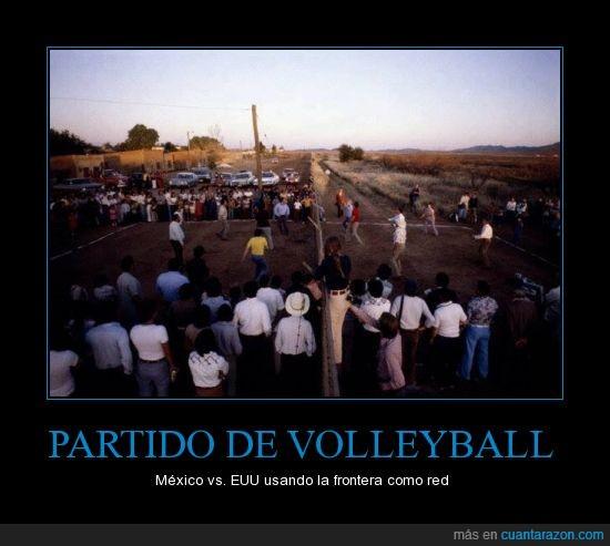 eeuu,frontera,jugar,partido,volleyball
