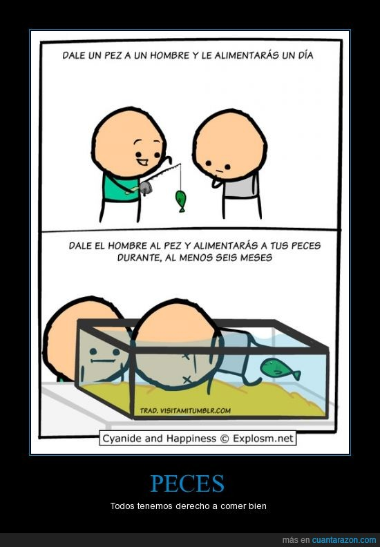 cadaver,comer,cyanide and happiness,muerto,pecera,pez,seis meses