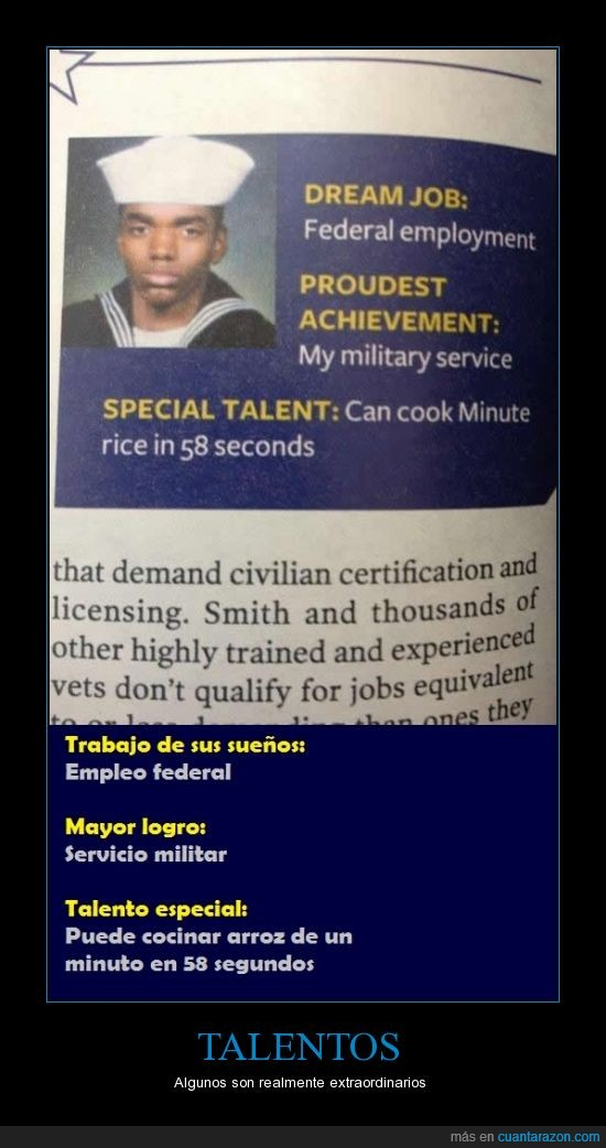 arroz,especial,militar,Talento traducción