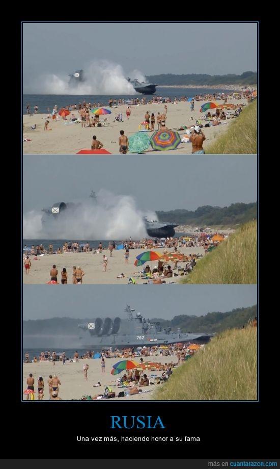 aerodeslizador,barco,ejercito,militar,playa,rusia,rutinario,un dia normal