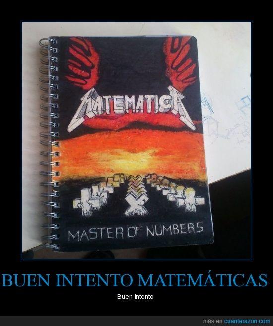 libreta,master of numbers,matematicas,metallica