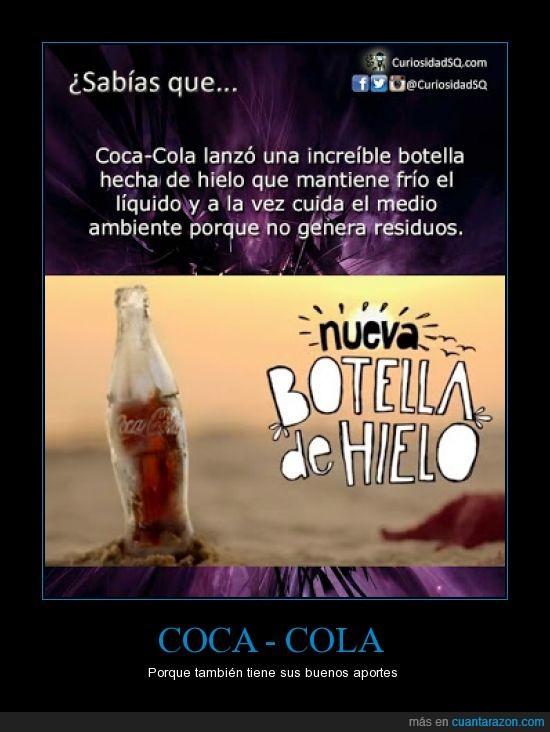 aportes,bebida,buena para el ambiente,buenos,coca-cola,malos,nueva botella,sin residuos