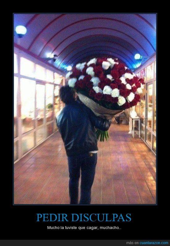 cagarla,fail,flores,novia,pedir perdón,ramo
