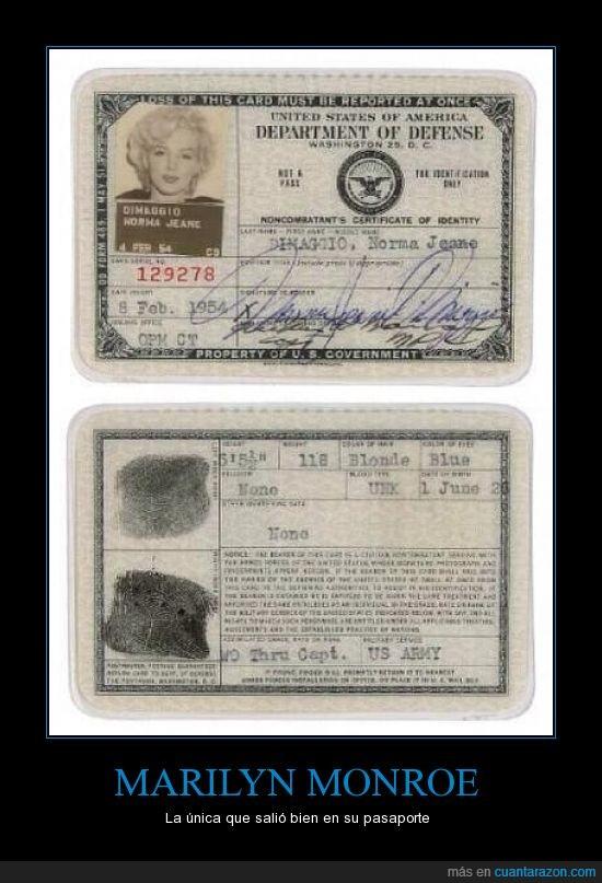 hola mama,marilyn monroe,pasaporte,todos parecemos narcotraficantes colombianos en nuestros documentos,viva peron