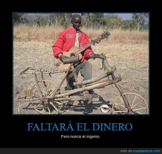 bicicleta,Dinero,faltar,guitarra,ingenio,pobre