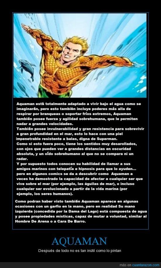 Aquaman,cara de barro,dama del lago,garfio,hombre de arena,invulnerabilidad,mano de agua,poderes,respira por branqueas,soporta el frio extremo,super fuerza,super velocidad,superman,telepatia
