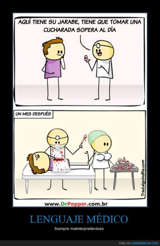 comer,cuchara,enfermera,jarabe,malinterpretar,medico