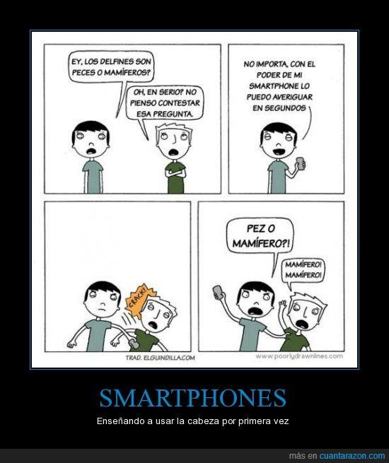 conocimiento,hostia,mamiferos,peces,pegar,poder,smartphones