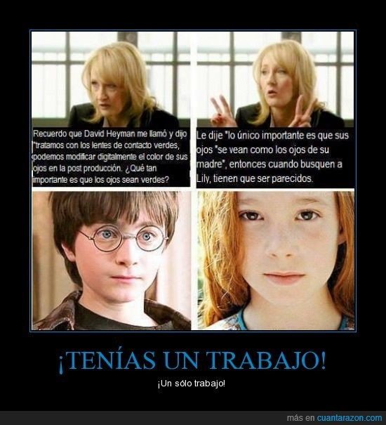 azul,casting,color,fail,Harry Potter,Lily Potter,madre,ojos,pasándoselo todo por el forro,verde