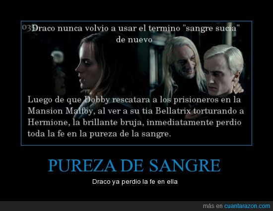 Bellatrix,Draco,Harry Potter,Pureza de Sangre,tia,torturar