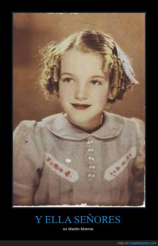 foto,Marilyn Monroe,niña,pequeña,rizos