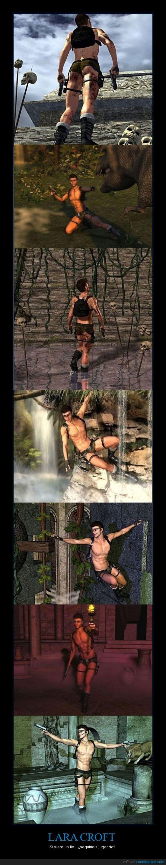 jugar,Lara croft,musculos,tío,tomb rider,videojuego