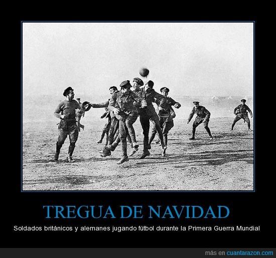 1914,alemania,futbol,guerra mundial,inglaterra,navidad,para los que no lo sepan eran enemigos,soldados,tregua