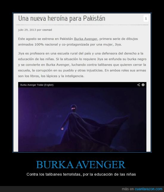 burka avenger,el burka le da superpoderes,el uso del burka es polémico pero se utiliza como ironía,escolarización,niñas,pakistán,profesora