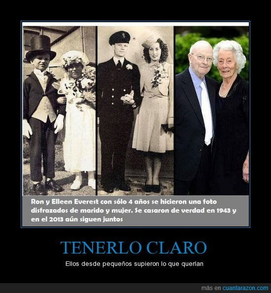 1943,2013,anciano,boda,mayor,niños,pequeños,Ron y Ellen Everest,señor,señora,vestido