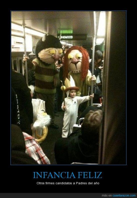 cosplay,disfraz,metro,subterraneo,tren,where the wild things are