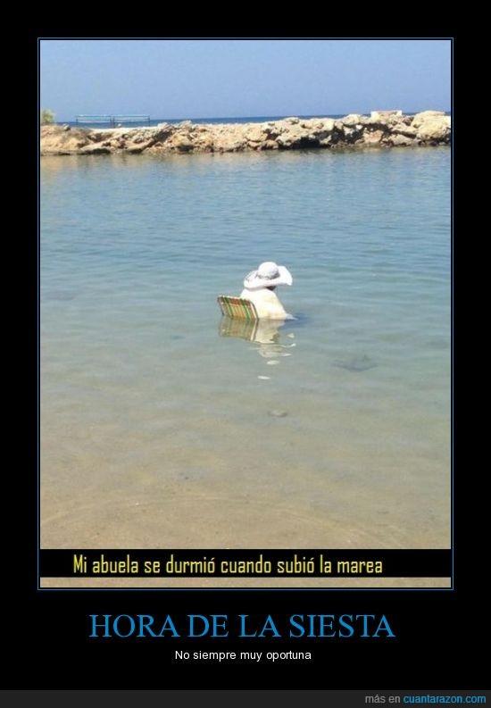 abuela,agua,marea,puede ser mortal,señora,siesta,silla,subir